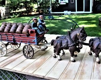 Cast Iron Beer Wagon with Clydesedale Horses/Cast Iron Wagon with Horses and Barrels/Cast Iron Horses and Beer Barrels/ Pub or Bar Display