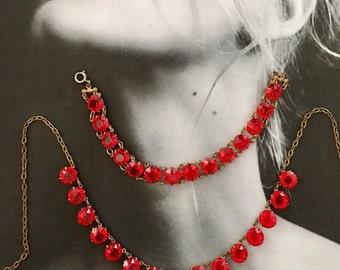 HOLIDAY SAVINGS Art Deco Red Czech 1920 Victorian Vintage Necklace Bracelet Demi Parure Christmas Holiday Fantasy Bridal
