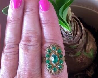 Emerald Green Reign Bridal Cocktail Ring Vintage 1930 1940 Czech Glass Renaissance Wedding Statement Fantasy Reign Bridal