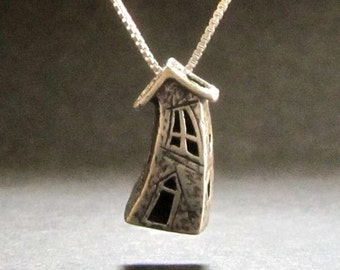 Crooked House Fairy House necklace pendant BEAD Sterling handmade in USA