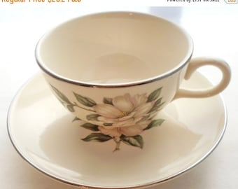 ON SALE Vintage Magnolia Homer Laughlin Rhythm Set of 4 Teacups and Saucers Shabby Chic Cottage Chic