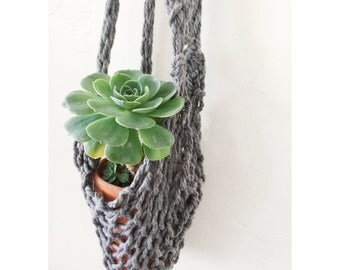 Handknit Hanging Planter in Charcoal Grey , Indoor Planter, Boho Home