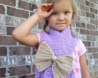 Girl's Crochet Bow Scarf