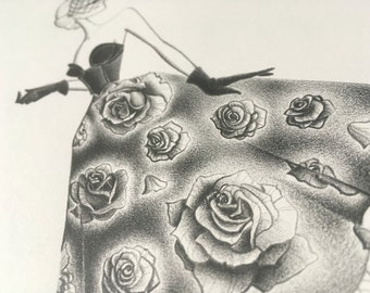 fashion illustration - original pencil drawing - fine art - fashion sketch - roses