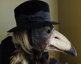 Plague Doctor Mask Paper mache bird mask crow magpies raven bird costume Masquerade men