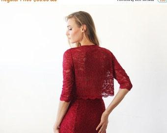 Oscar Sale Long sleeves Bordeaux Lace short top , Bordeaux lace top 2041