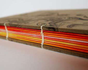 Painted Page Journal, orange and yellow pages in a coptic stitch binding