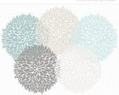 50% OFF  - Clipart - Dahlia Flowers (Blue) Silhouette - Digital Clip Art (Instant Download)