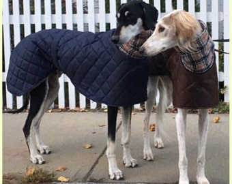 Greyhound winter coats with long fleece neck