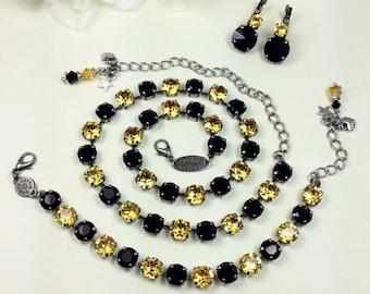 Swarovski Crystal  - Black / Gold Crystal 8.5mmNecklace - Pittsburgh STEELERS, Penguins, & Pirates Colors -Designer Inspired - FREE SHIPPING