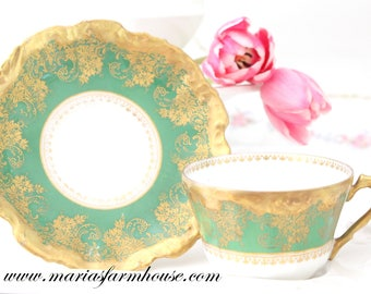18th Century, Antique Tea Cup and Saucer by Limoges, France, Coiffe Mark, Replacement China, Collectible, Wedding Table - c. 1891 - 1914