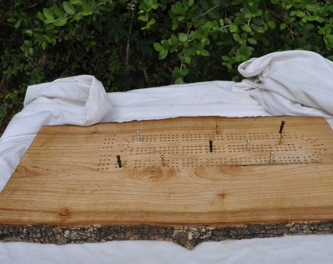 White Northern Elm / or oak reclaimed live edge 3 lane cribbage board All American made