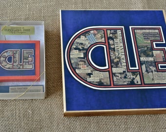 CLEVELAND INDIANS Rally Together CLE  - 8x8 Handmade Wood Print & Ornament