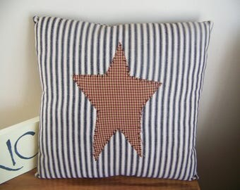 Primitive Blue Ticking Stripe Pillow With Red Star Shabby Nautical Rustic Decor