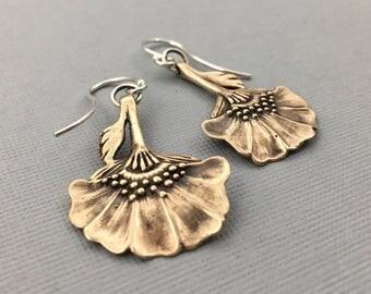 boho flower earrings | art nouveau earrings | folk flower | flower earrings | Wildflower Earrings, Bronze