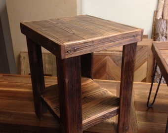 "Reclaimed Wood End Table with shelf 22""x22""x24"""