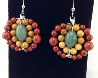 Unique Earrings,Handmade Earrings,sterling silver earrings,beaded earrings,wire wrapped earrings,gemstone earrings,statement earrings