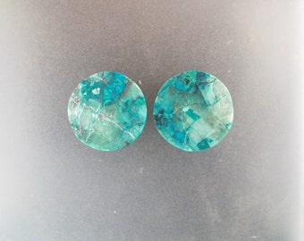 "Malachite Chrysocolla 1"", 25mm, 13mm thick one pair ear plugs"