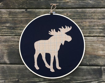 Moose Hoop Art - Modern Fabric Wall Art, Contemporary Wall Decor - Cottage Chic, Rustic, Wood, Applique, Plaid, Fabric, Navy Blue, Beige