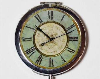 Victorian Clock Compact Mirror - Steampunk Pop Art - Make Up Pocket Mirror for Cosmetics