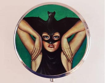 Bat Lady Pill Box Case Pillbox Holder Trinket Stash Box Pulp Fiction Woman Macabre Goth