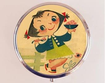 Retro Ice Cream Girl Pill Box Case Pillbox Holder Stash Trinket Box Kawaii 1950's Kitsch