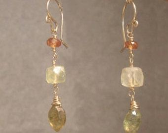 Mandarin garnet, prehnite, green garnet drop earrings Victorian 338