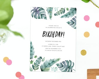 Birthday Invitation Tropical Summer Birthday Invite Watercolour Modern  Invitations Green Fern Leaves Turquoise