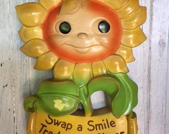 Vintage Chalkware Flower | Mod | Cheerful Wall Decor | Happy Smiling Face | Bright Colorful Flower | Sunflower Wall Hook | Miller Studio Inc