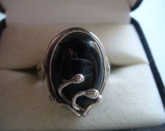 Vintage Onyx Ring in Silver