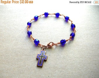 Prayer Bracelet - Cobalt Blue Wire Wrap Bracelet - Handmade Bracelet - Prayer Bracelet - 8 Inches
