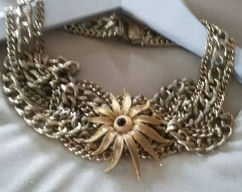 Vintage Mulitstrand Gold Chain Brooch Assemblage Bib Choker, Runway, Statement Necklace