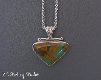 Natural American Royston turquoise metalsmith pendant necklace with sterling silver