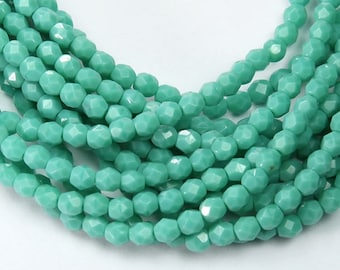 Opaque Turquoise Czech Glass Beads, 4mm Faceted Round - 100 pcs - e63130-4