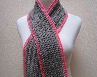 Scarf Ribbed Gray and Bright Pink Long Neck Warmer Hand Crocheted