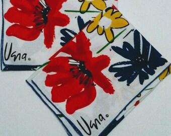 Vera Floral Red Blue Set of 2 Napkins 1950s