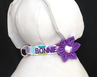 Dog Collar Flower Set Embroidered With Your Dogs Name - Sparkly Polka dots - Size XS, S, M, L, XL