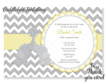 Yellow Elephant Baby Shower Invitation | Gender Reveal Baby Shower Invitation | Gender Neutral Baby Shower invitation | Jungle Baby Shower