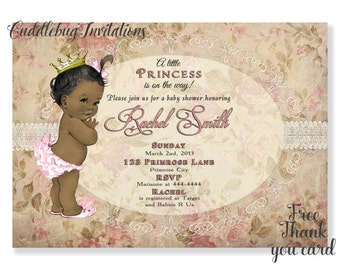 African American Pink Girl Baby Shower Invitation | Pink Baby Girl Shower Invitation | Royal Baby Shower Invite | Pink Princess Shower