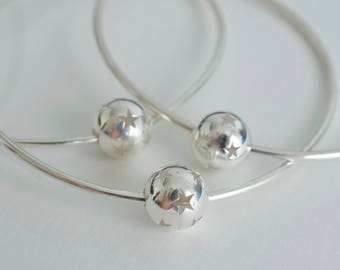 Bangle bracelet star spinning ball - cut out stars - Handmade sterling silver bangle - 925 solid sterling silver