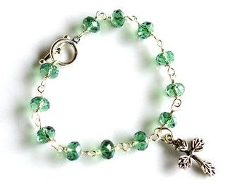 Light Emerald Green Swarovski Crystals & Cross Bracelet Toggle Closure 8 Inches