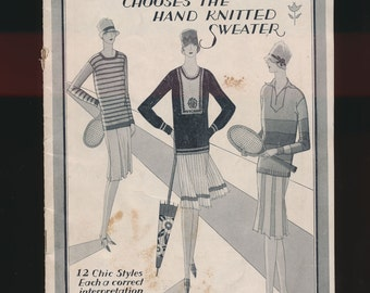 vintage knitting supply, 12 Bucilla flapper sweater patterns booklet, authenic, 1920's