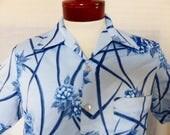 vintage 70's Mr. Jan tonsl light blue navy blue big collar polyester short sleeve big collar disco shirt blue floral pattern print  medium