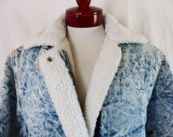 rad vintage 80's Inner View acid washed faded blue denim jean jacket polyester sherpa line motorcycle jacket style unisex oversized small
