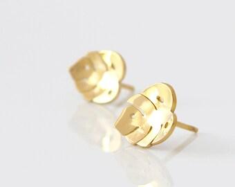 Gold Leaf Stud Earrings - Monstera Earrings - Monstera Stud Earrings - Nature Stud Earrings - Monstera Leaf Earrings - Gold Studs -Ear studs