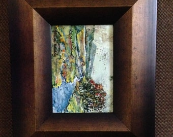 landscape painting, impressionistic art, abstract, countryside, acrylic, framed painting, small, acrylic