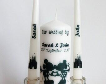 Disney Wedding Unity Candle set, Personalize Unity candle set, Wedding Photo Candle set, Wedding candle set, Wedding Candle