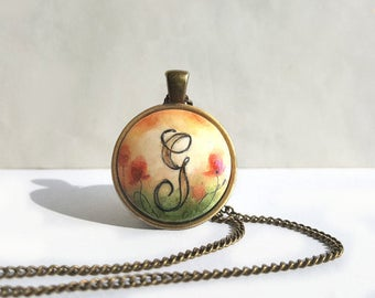 Unique Personalized Pendant Necklace, Letter G Charm Chain Necklace, Hand Painted Pendant, Handcrafted Original Painting Jewelry