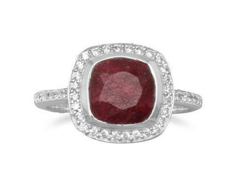 Ruby Ring with CZ Edge. Sterling silver ring with 12mm square faceted ruby surrounded by CZs. The band is approximately 1.5mm. Sizes 4-10.