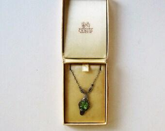 Antique Art Deco silver filligree necklace, green stone pendant, Victorian pendant and chain, original box, woman's accessory, gift idea,